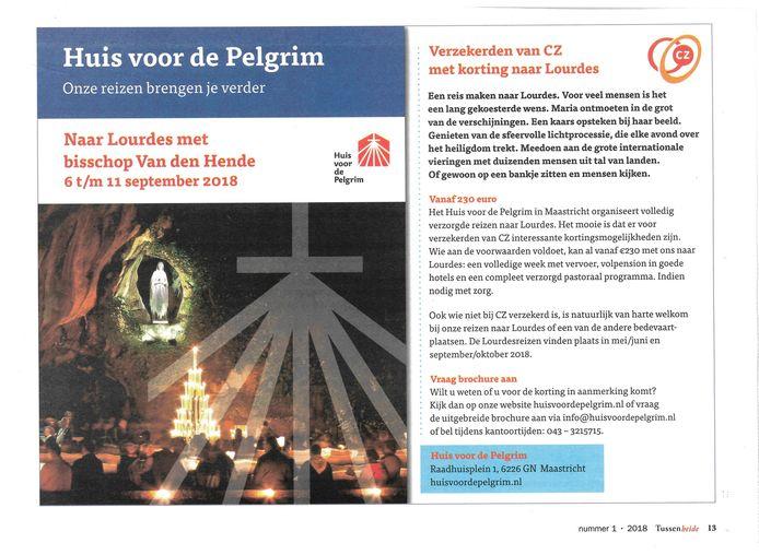 De CZ-advertentie die verscheen in het blad van Bisdom Rotterdam.