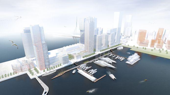 De Rijnhaven Marina biedt plek aan meer dan veertig superjachten.