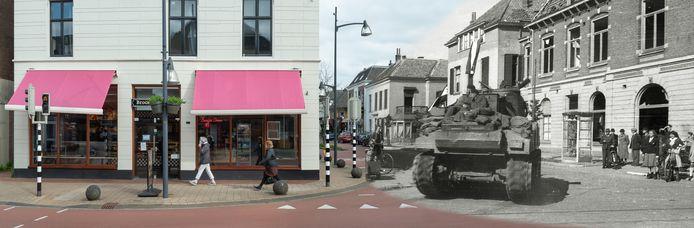 Expositie Velp viert vrijheid. Links Bakker Bart, rechts de Rozendaalselaan.