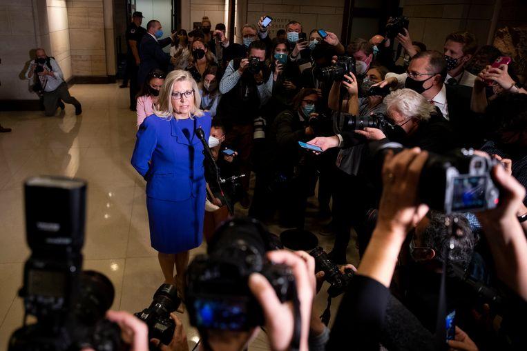 Liz Cheney na haar excommunicatie uit de Republikeinse partijtop.   Beeld EPA