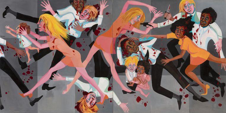 Faith Ringgold, American People Series #20: Die (1967). Het MoMA in New York hing dit schilderij twee jaar geleden schijnbaar uit het niets op een prominente plek, naast een werk van Picasso.   Beeld Faith Ringgold, Pictoright Amsterdam