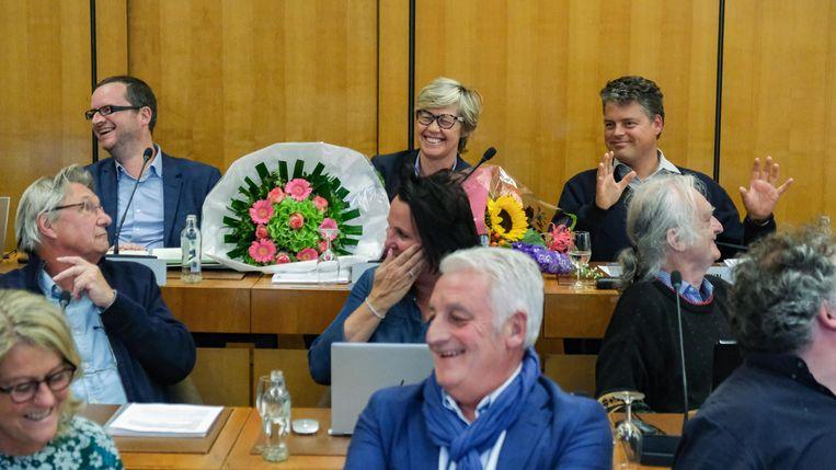Christine Depuydt was blij met haar bloemen.