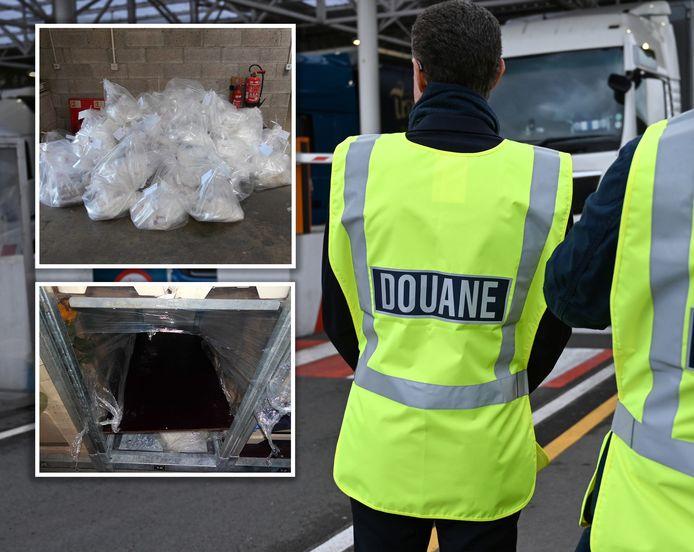 De Britse douane vond 419 kilo drugs (inzetje) verborgen in bloemenkarren in de vrachtwagen uit Urk. Volgens een jury is dat chauffeur Jelle P. echter niet aan te rekenen.