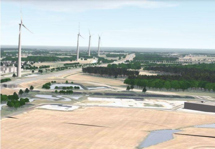 Toekomstbeeld, een rij windmolens langs de A1 aan de oostkant van Deventer, 225 meter hoog.