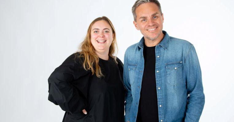 StuBru-presentatrice Fien Germijns en MNM-djPeter Van deVeire Beeld VRT