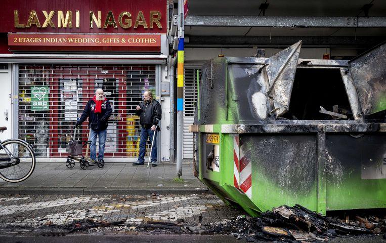 Brandschade op de Beijerlandselaan in Rotterdam.  Beeld EPA
