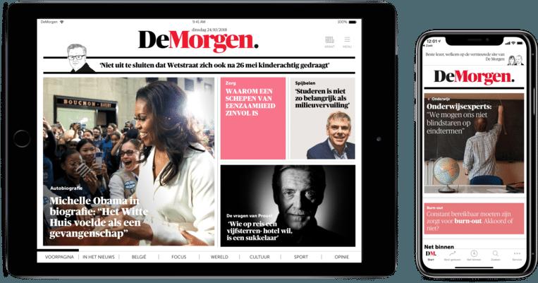 De Digitale Editie en de nieuwe mobiele app van De Morgen. Beeld dm