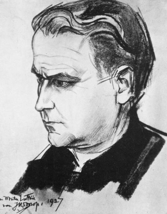 Portret van Wouter Lutkie door de beroemde kunstenaar Jan Toorop, ook een Mussolini-fan