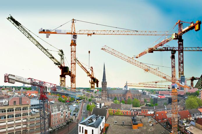 Fotoshop: het Tilburgse stadshart is nog jaren een bouwput.
