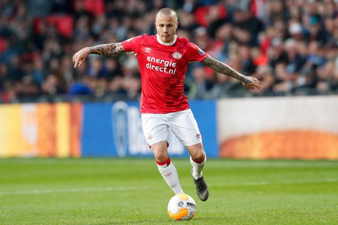 Angelino in actie in zijn laatste duel voor PSV.