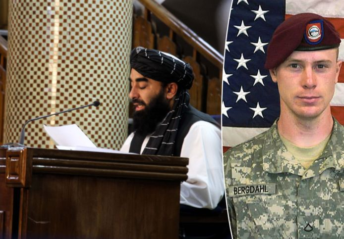 Taliban-woordvoerder Zabihullah Mujahid bij de bekendmaking van de nieuwe regering (links) en VS-soldaat Bowe Bergdahl