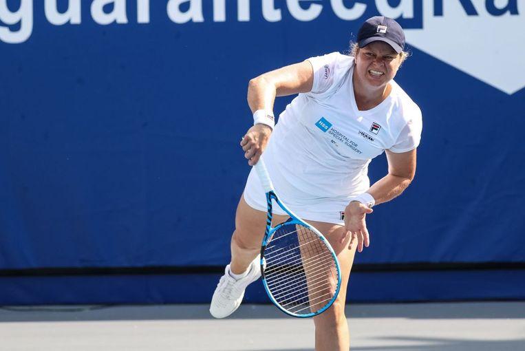 Kim Clijsters in actie tegen Sofia Kenin. Beeld WTT