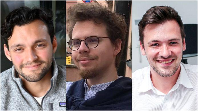 Jonge beleggers Juan-José Gebruers, Cedric Roels en Aksel Vermassen.