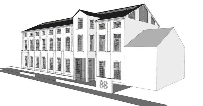 Artist impression van het gerenoveerde Gebouw 88 in Tilburg.