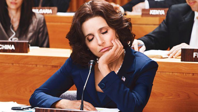 Julia Louis-Dreyfus als de Amerikaanse president Selina Meyer in Veep. Beeld HBO