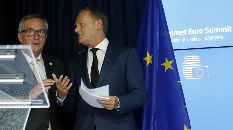 Europees president Donald Tusk en Commissievoorzitter Jean-Claude Juncker. Beeld EPA