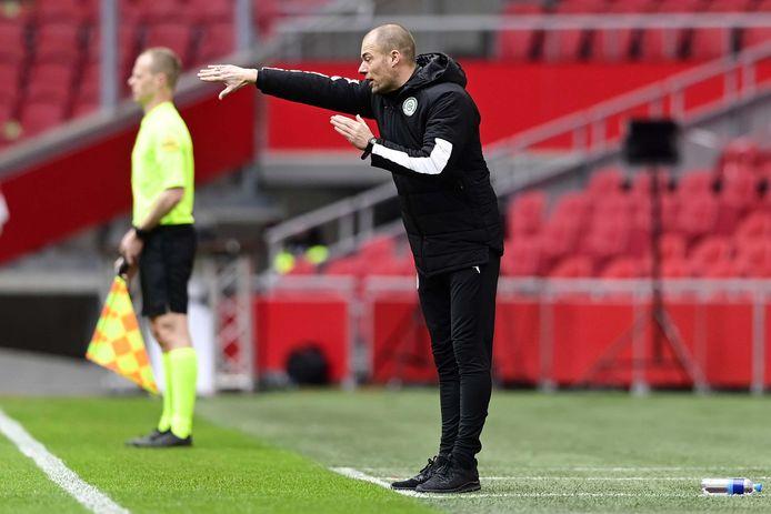 Danny Buijs tijdens het duel met Ajax.