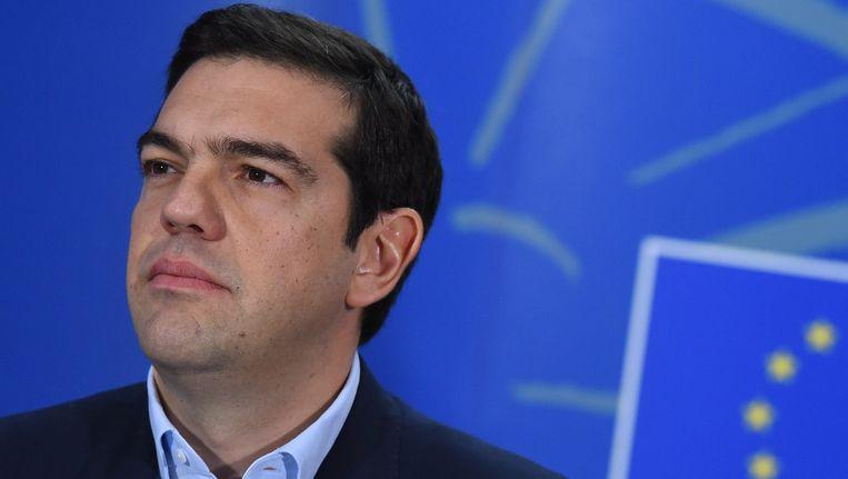 De Griekse premier Tsipras staat voor een belangrijke Europese top morgen. Beeld AFP