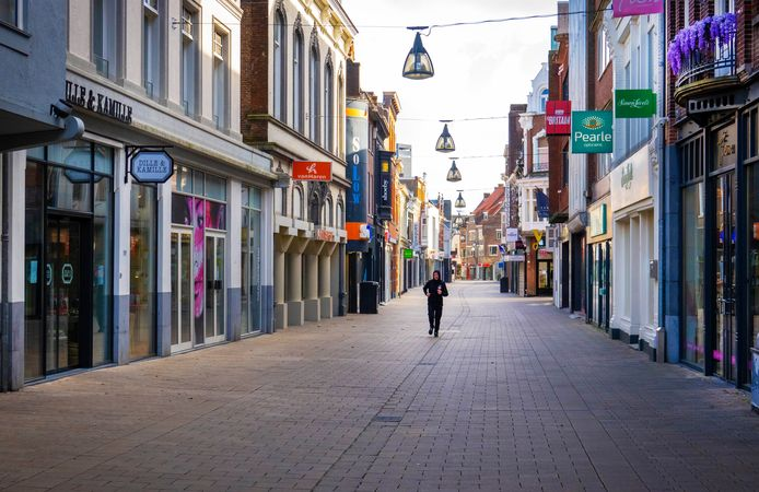 Totaal verlaten binnenstad van Tilburg
