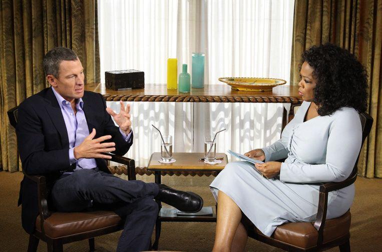 Lance Armstrong tijdens zijn dopingbiecht bij Oprah Winfrey Beeld AFP
