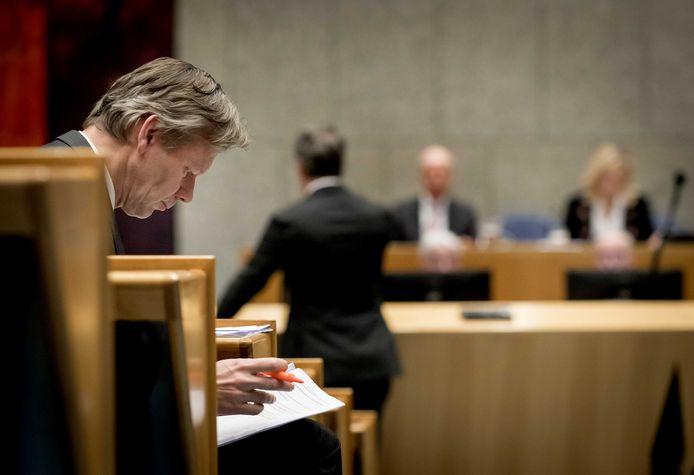 ChristenUnie-Kamer Joël Voordewind tijdens het debat over de goedkeuring van het veelbesproken Ceta-handelsverdrag tussen de Europese Unie en Canada. Zijn partij is nodig voor een Kamermeerderheid.