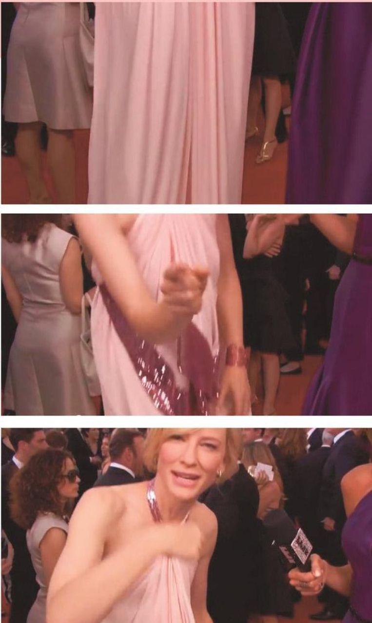 Cate Blanchett spreekt tijdens de Oscars van 2014 een cameraman aan op een nogal seksistische camerabeweging, waarmee hij haar langzaam van top tot teen filmde. Beeld rv