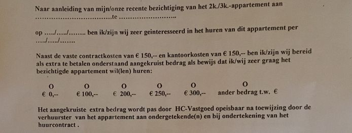 Een deel van het formulier dat HC Vastgoed in Eindhoven woningzoekenden laat invullen, met de vraag over extra bijbetaling.