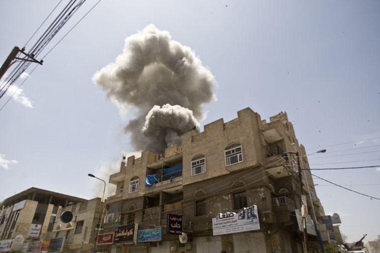 Een Saudische luchtaanval in Jemen.