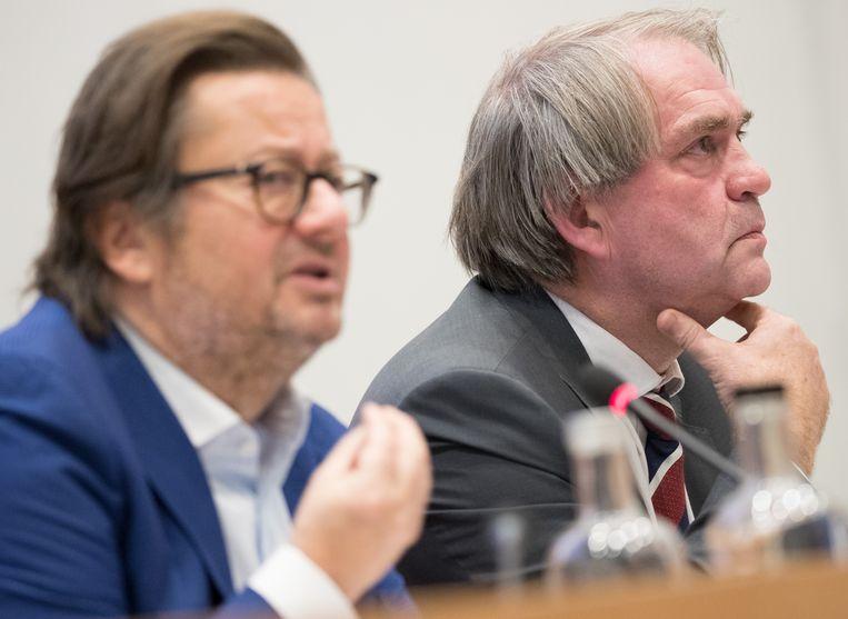 Pro League-voorzitter Marc Coucke en CEO Pierre François in het parlement. Beeld BELGA
