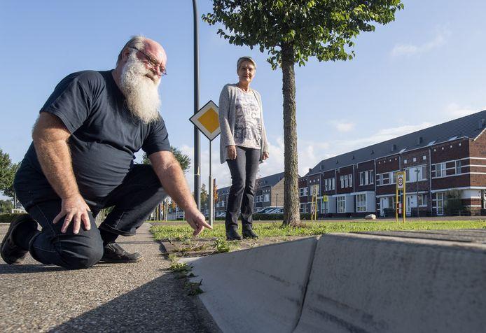 Jan de Vries en Mieke Visser willen meer aandacht voor gehandicapten. Zo werd deze bushalte in de Bornsche Maten pas later toegankelijk gemaakt voor rolstoelgebruikers, terwijl dat ook meteen bij de aanleg had gekund.