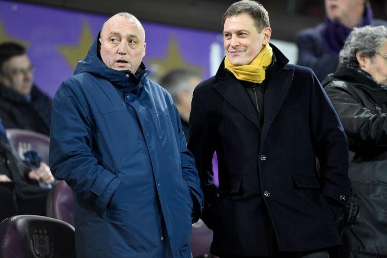 Van Eetvelt op de tribune met nieuwe Anderlecht-voorzitter Wouter Vandenhaute, begin dit jaar. Beeld Photo News