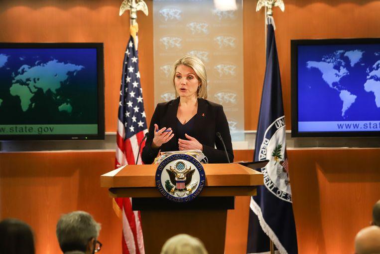 Woordvoerster van het ministerie van Buitenlandse Zaken van de Verenigde Staten Heather Nauert Beeld Getty Images