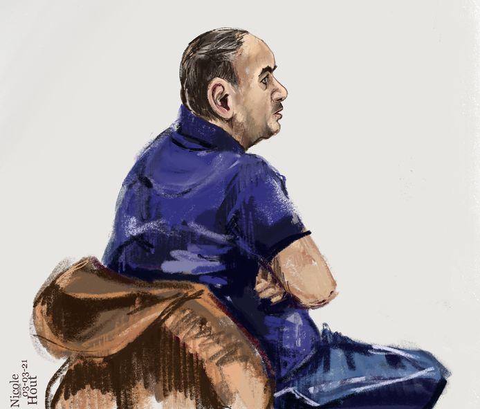 Rechtbanktekening van Fatah al H. in de extra beveiligde zittingszaal in Rotterdam in maart 2021. Hij is de broer van Aziz, die beter bekend staat als de 'balie-jihadist'