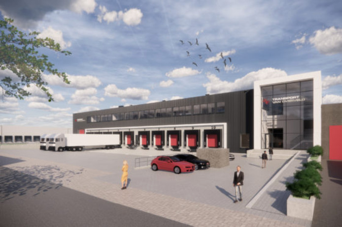 Artist impression van de voorgenomen uitbreiding van Van Overveld Transport uit Etten-Leur. Heembouw maakte het ontwerp en voert het werk uit.