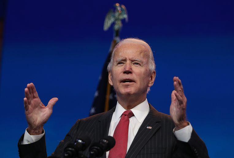 Toekomstig Amerikaans president Joe Biden donderdag tijdens een online-ontmoeting met gouverneurs in Wilmington in de staat Delaware.  Beeld Getty Images