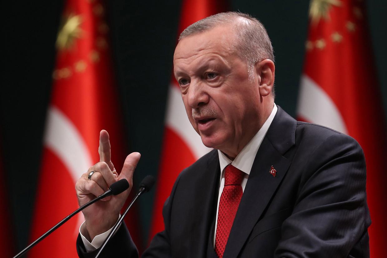Het is niet de eerste keer dat Erdogan in de problemen komt na het citeren van een gedicht tijdens een toespraak.  Beeld AFP