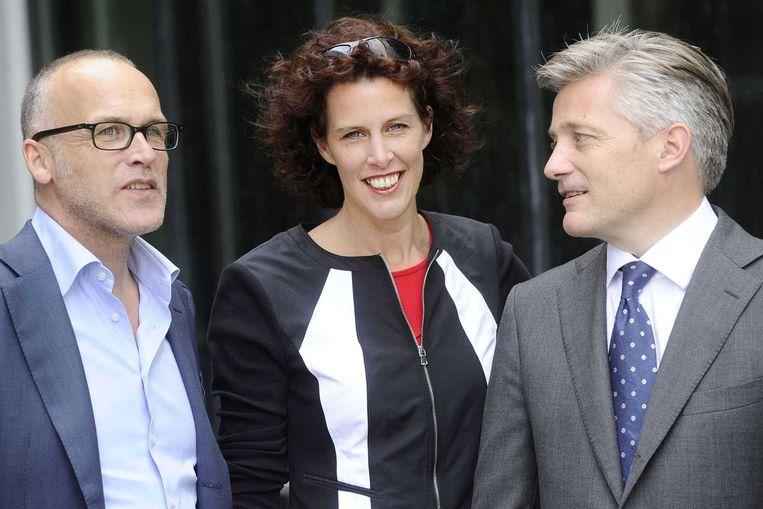Initiatiefnemers van Tom Kabinet Marc Jellema (R), Judith Marien en Laurens van Hoorn (L). Beeld anp