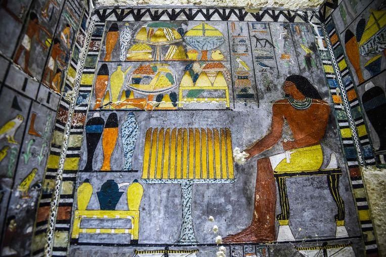 De pas ontdekte graftombe van de vroegere Egyptische edelman Khuwy. Beeld AFP