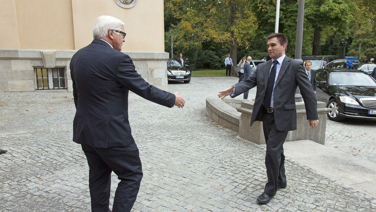 Frank-Walter Steinmeier (links) en Pavlo Klimkin Beeld GETTY