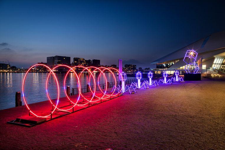 Dit jaar vind je door de hele stad kunstwerken van het Amsterdam Light Festival. Beeld Janus van den Eijnden
