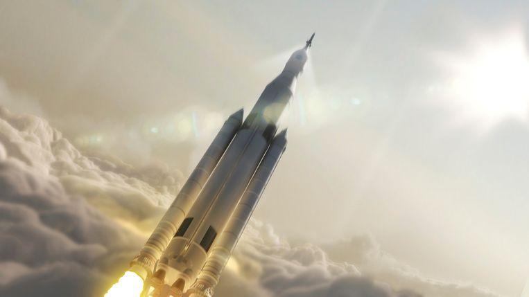 Impressie van de lancering van Space Launch System (SLS) die vanaf 2020 moet gaan vliegen. Nasa's nieuwe werkpaard is volgens fabrikant Boeing 's werelds grootste raket ooit gemaakt.  Beeld Reuters