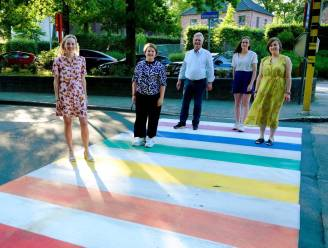 Regenboogzebrapad aan zwembad als symbool voor diversiteit