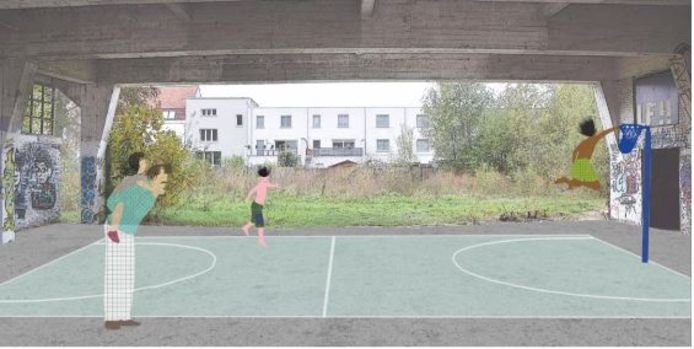 Er komt een overdekte speelplaats in het te behouden en te restaureren deel van het centrale gebouw. Waar je ook kan sporten.