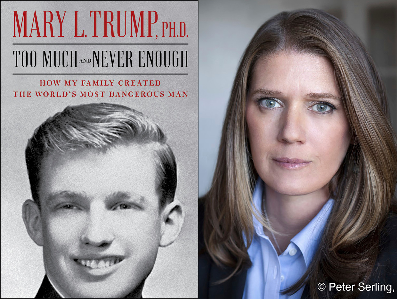De cover van het boek, en rechts de foto van de schrijfster Mary Trump, de nicht van de Amerikaanse president.  Beeld AP