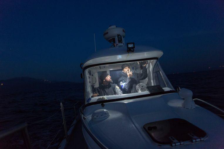 Een patrouilleboot van Frontex op de Egeïsche Zee tussen Turkije en Griekenland. Beeld Getty Images