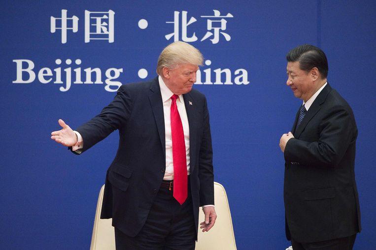 Trump en Xi Jinping in Peking, november 2017.  Beeld AFP