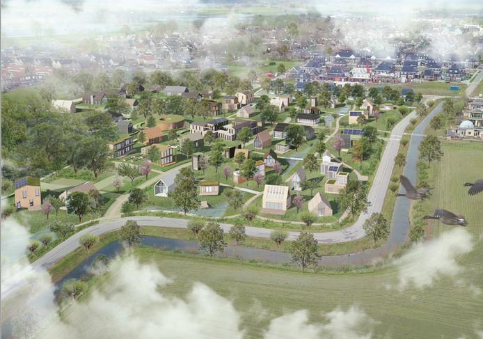 Vogelvluchtimpressie van de toekomstige wijk Olstergaard in Olst. Hoe de woningen er uiteindelijk uit komen te zien, bepalen de toekomstige bewoners.