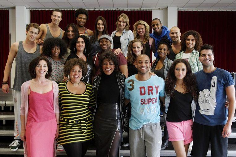 De cast tijdens de repetitie van de musical Daddy Cool International Mallorca. Beeld anp
