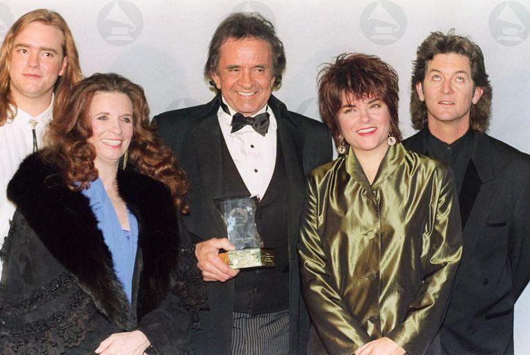 John Carter Cash (links) met zijn ouders, zus en haar man. Beeld afp