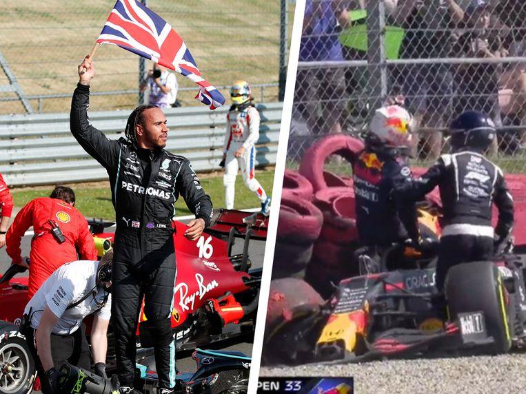 Lewis Hamilton viert, Max Verstappen belandde in de bandenmuur op Silverstone. Beeld Reuters en Twitter
